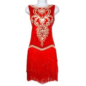 Red Sequin Embroidered Fringe Flapper Dress S/M
